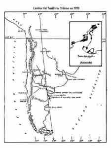 Mapa limite del territorio de Chile en 1810